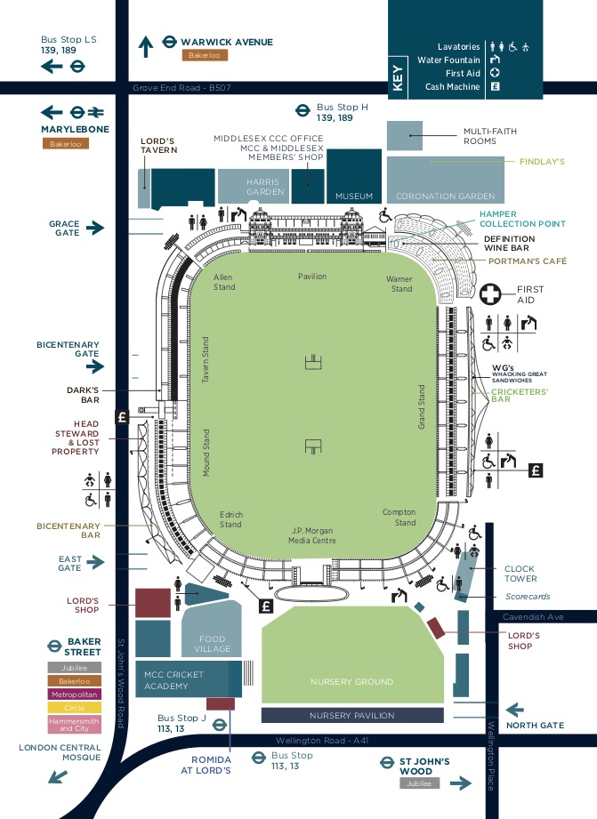 Lords Ground Map Lord's Cricket Ground Map | Lord's