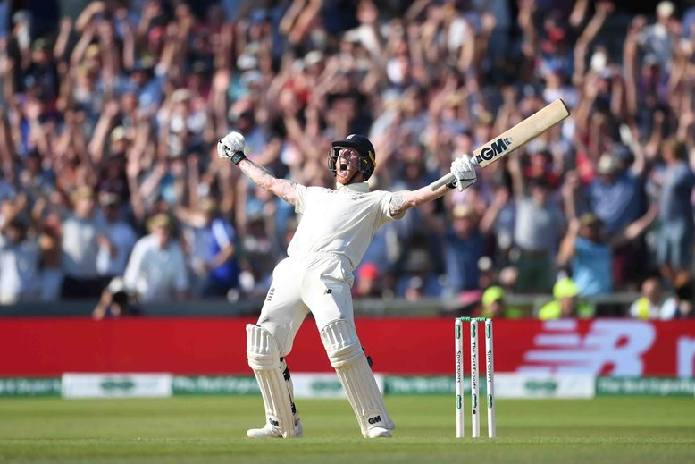 Ben Stokes of England celebrates hitting the winning runs to win the third Specsavers Test Match between England and Australia at Headingley. 25 August 2019, Leeds, England
