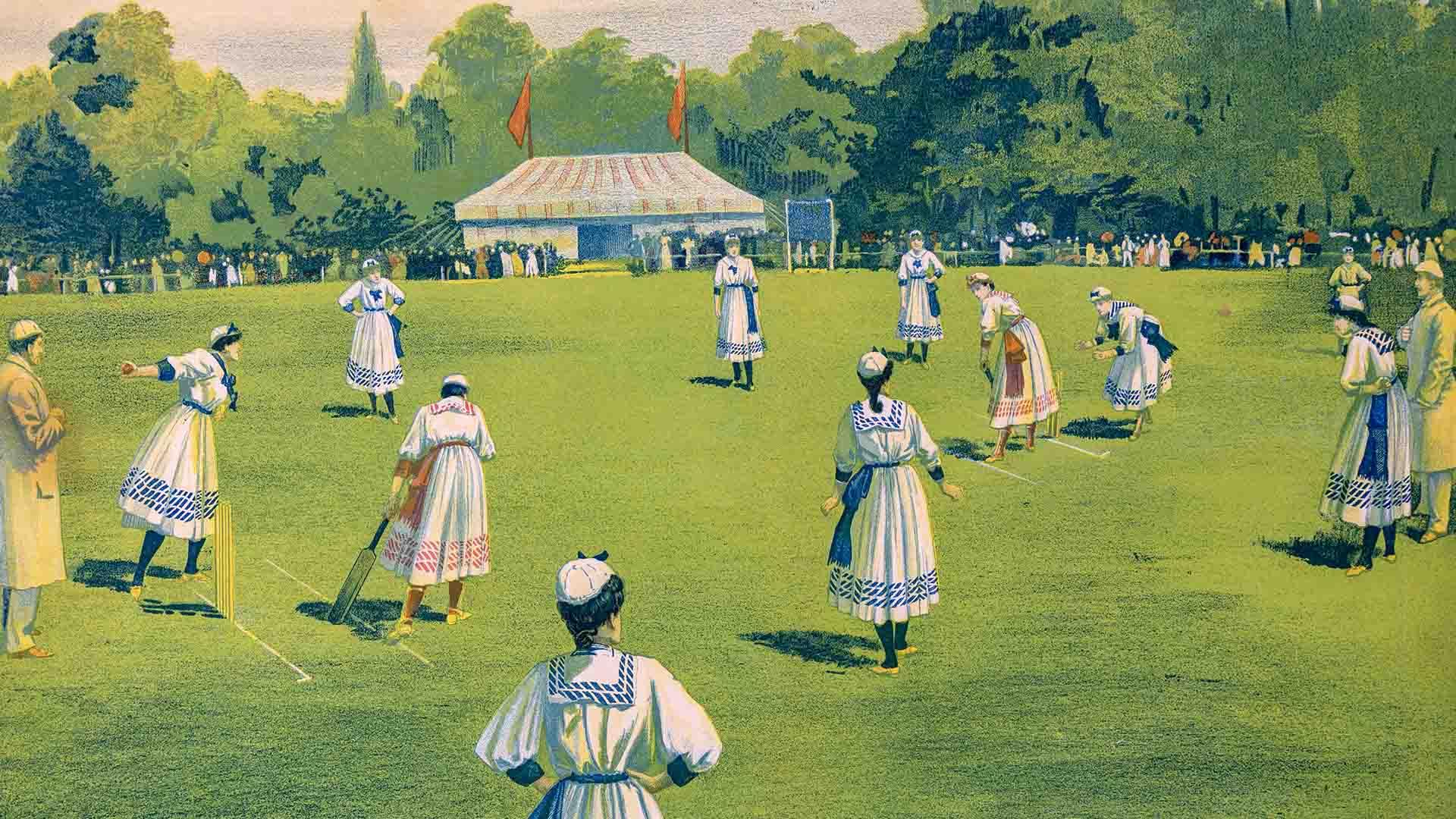 """""""Original English Lady Cricketers"""", Reds Vs. Blue, England, 1890"""