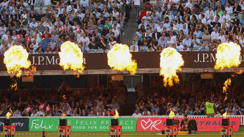 The flames rise during a Vitality Blast match at Lord's