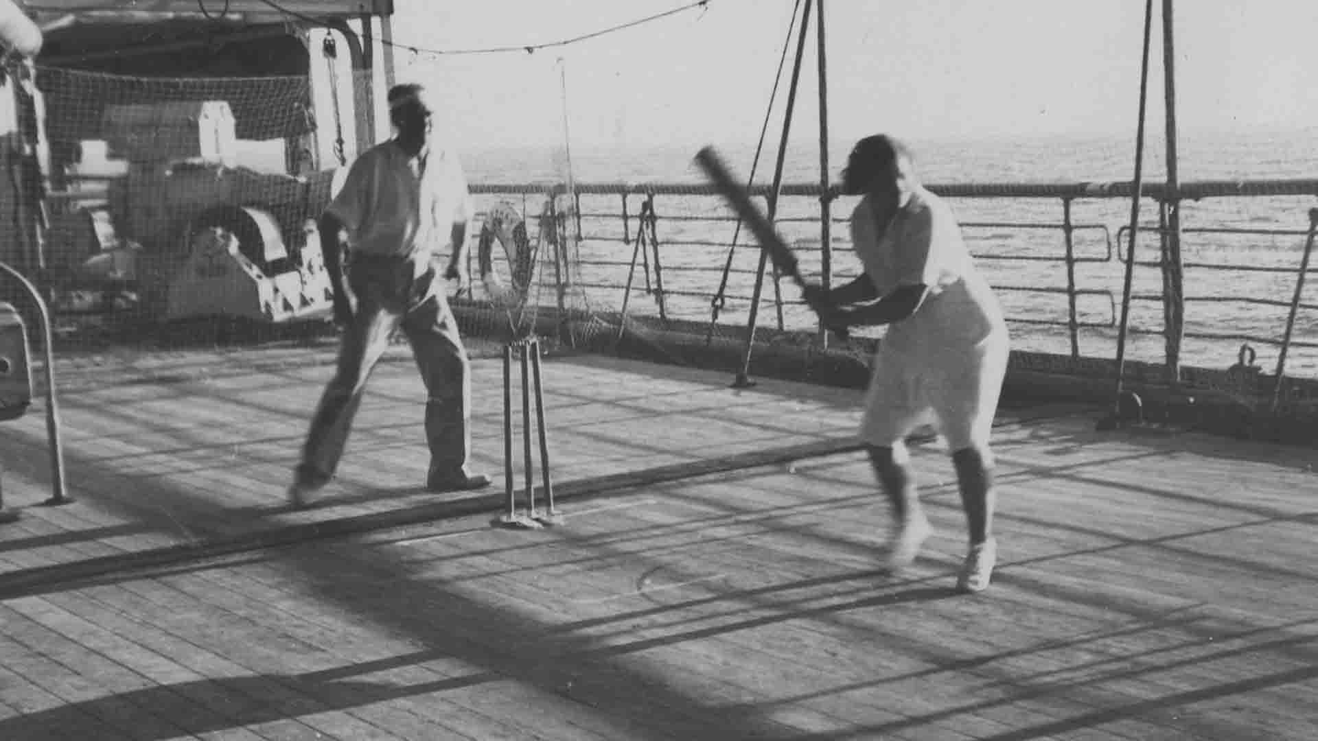 Deck cricket, England on board SS Cathay, first tour to Australia, 1934 (WCA Archive)
