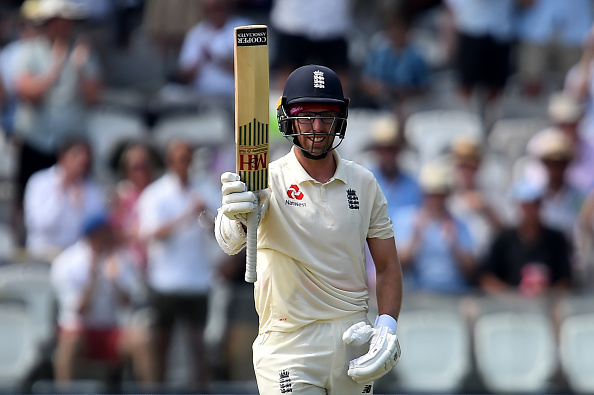 Jack Leach celebrates a 50 at Lord's.