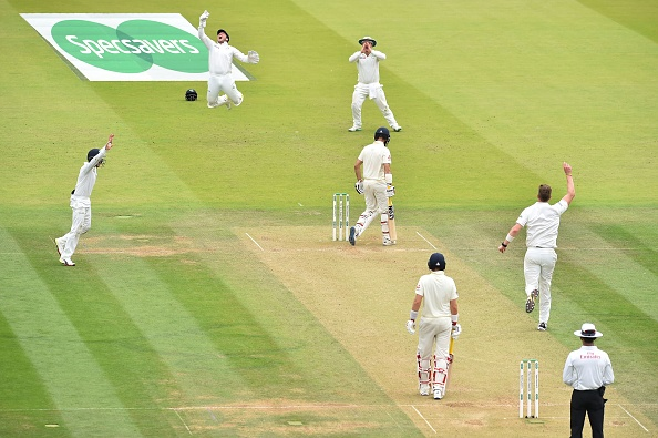 Moeen Ali is caught behind by Ireland's Gary Wilson off the bowling of Boyd Rankin.