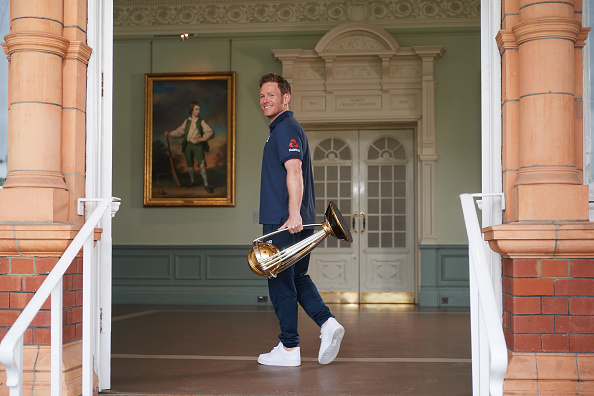Eoin Morgan with the World Cup trophy in the Lord's Pavilion