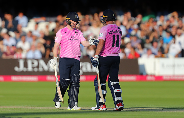 Eoin Morgan and AB de Villiers play for Middlesex