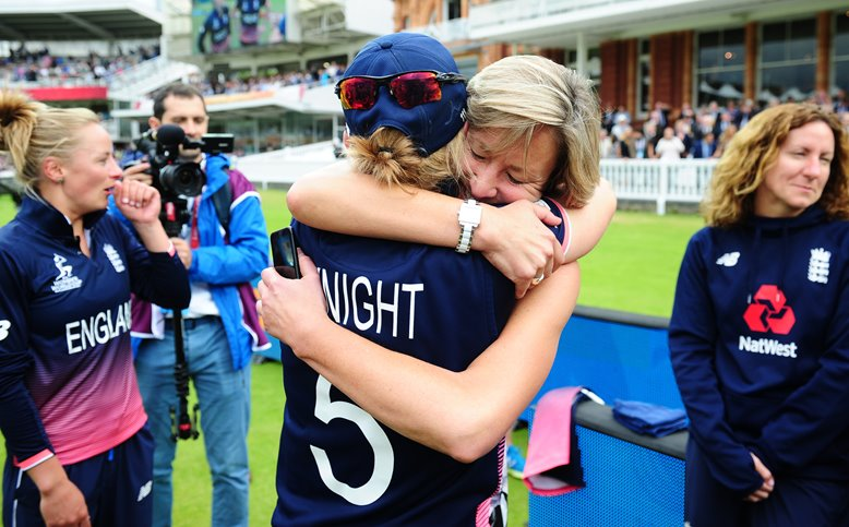 Clare Connor celebrating with Heather Knight at Lord's