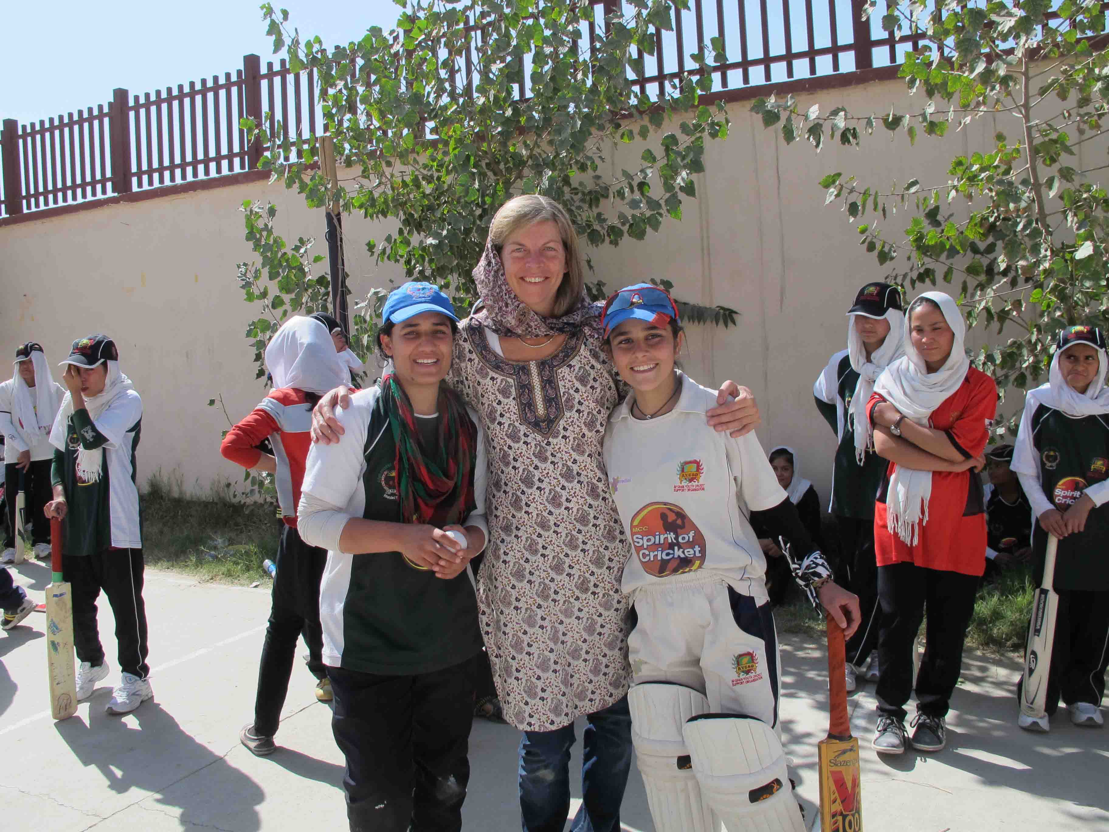 Dr Sarah Fane at the Girls' cricket Camp in Kabul