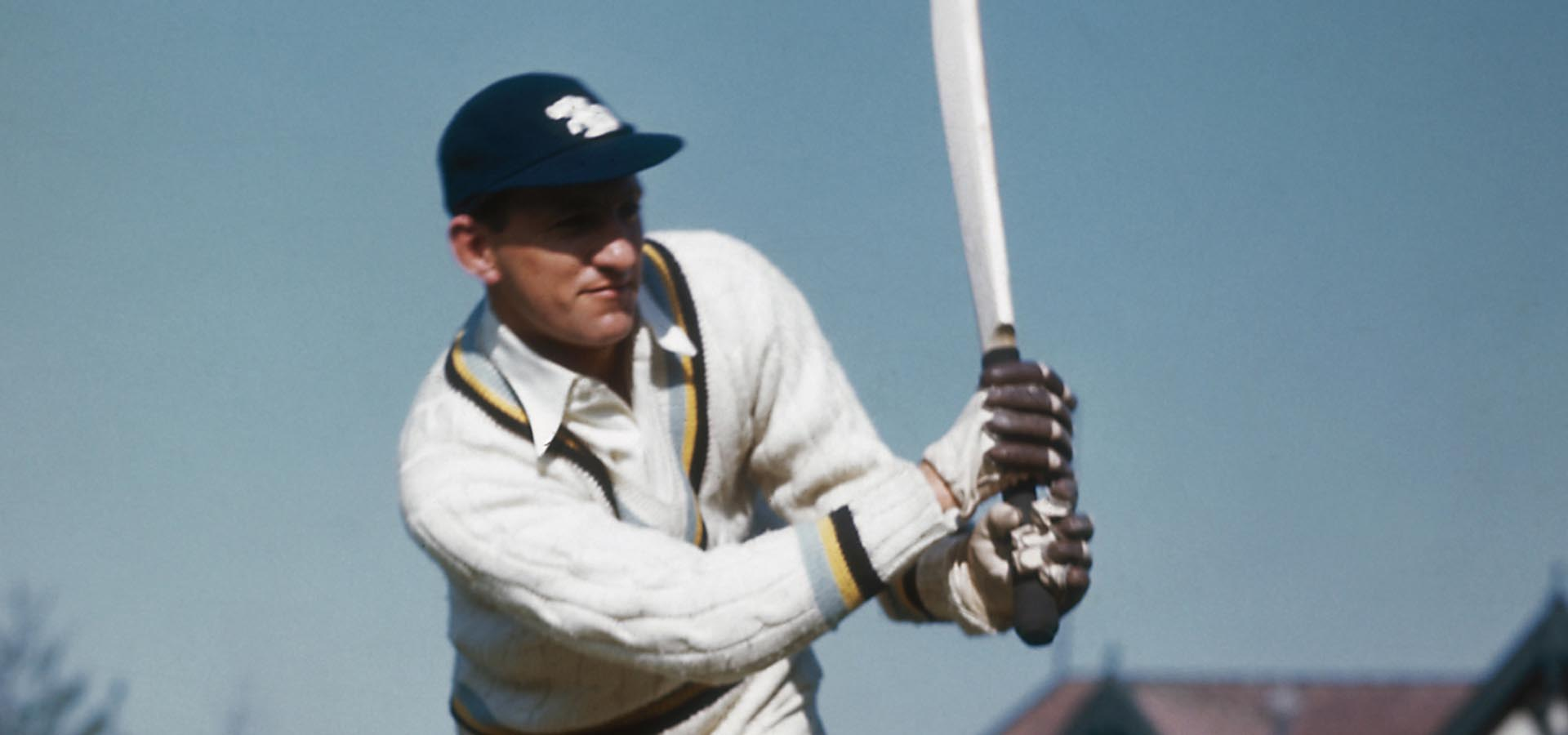 Sir Lenord Hutton batting.