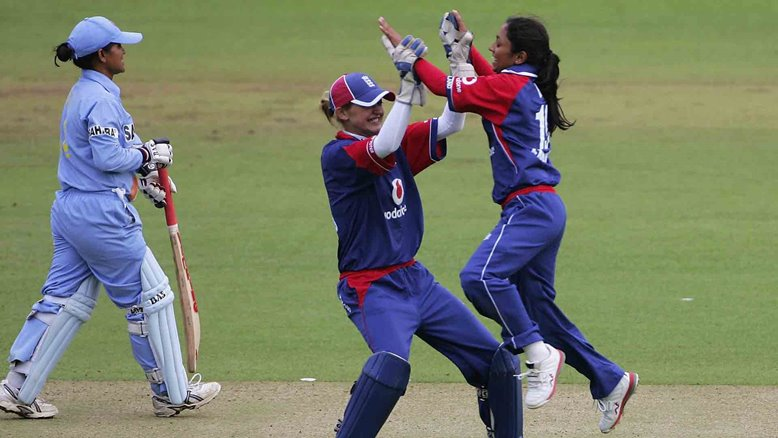 Isa Guha takes a wicket for England at Lord's