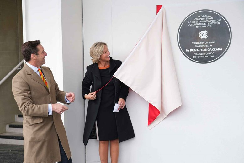 Clare Conor unveils the Compton Stand plaque