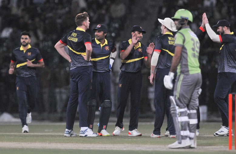 MCC celebrate a wicket in their T20 versus Lahore Qalandars