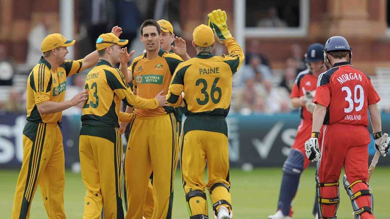 Mitchell Johnson dismisses Eoin Morgan at Lord's