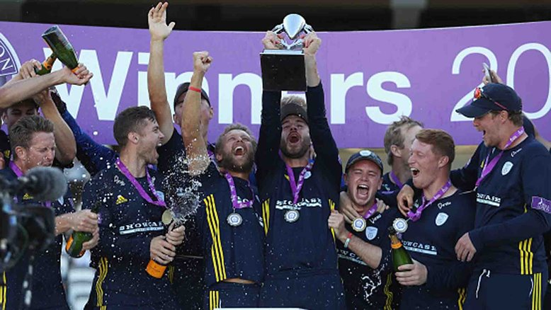 Hampshire celebrate winning the 2018 Royal London One-Day Cup final.