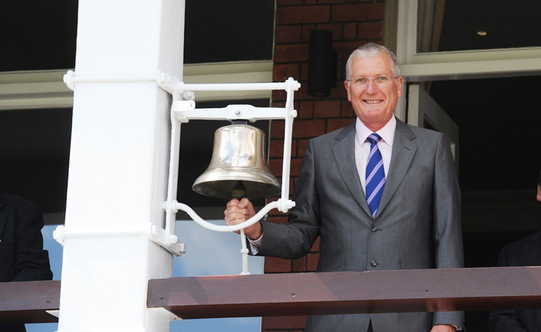 Bob Willis rings the 5-minute bell at Lord's, 2010