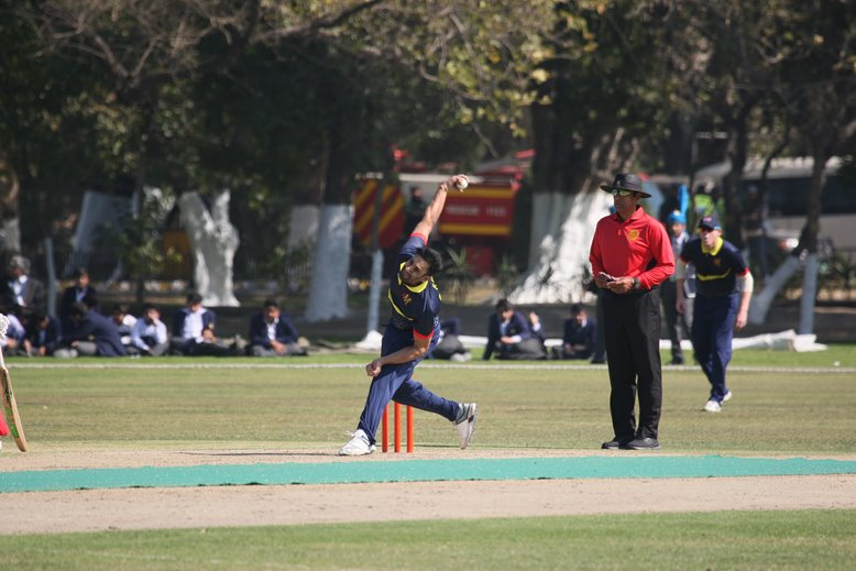 Ravi Bopara bowling for MCC v Northern in Pakistan
