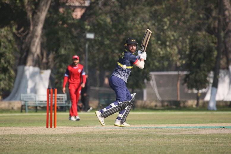 Arron Lilley in action for MCC v Northern in Pakistan