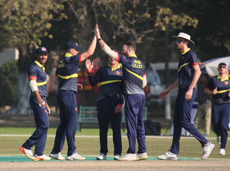 MCC celebrate another wicket in match versus Pakistan Shaheens