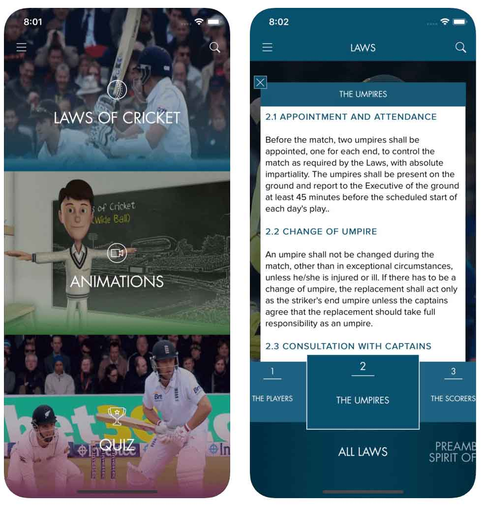 MCC Official Laws of Cricket App