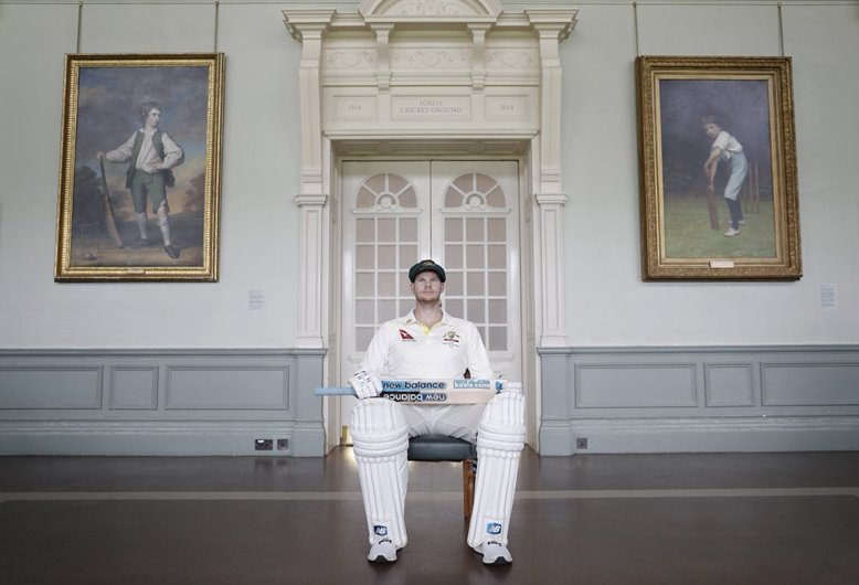 Steve Smith in the Long Room ahead of the Ashes