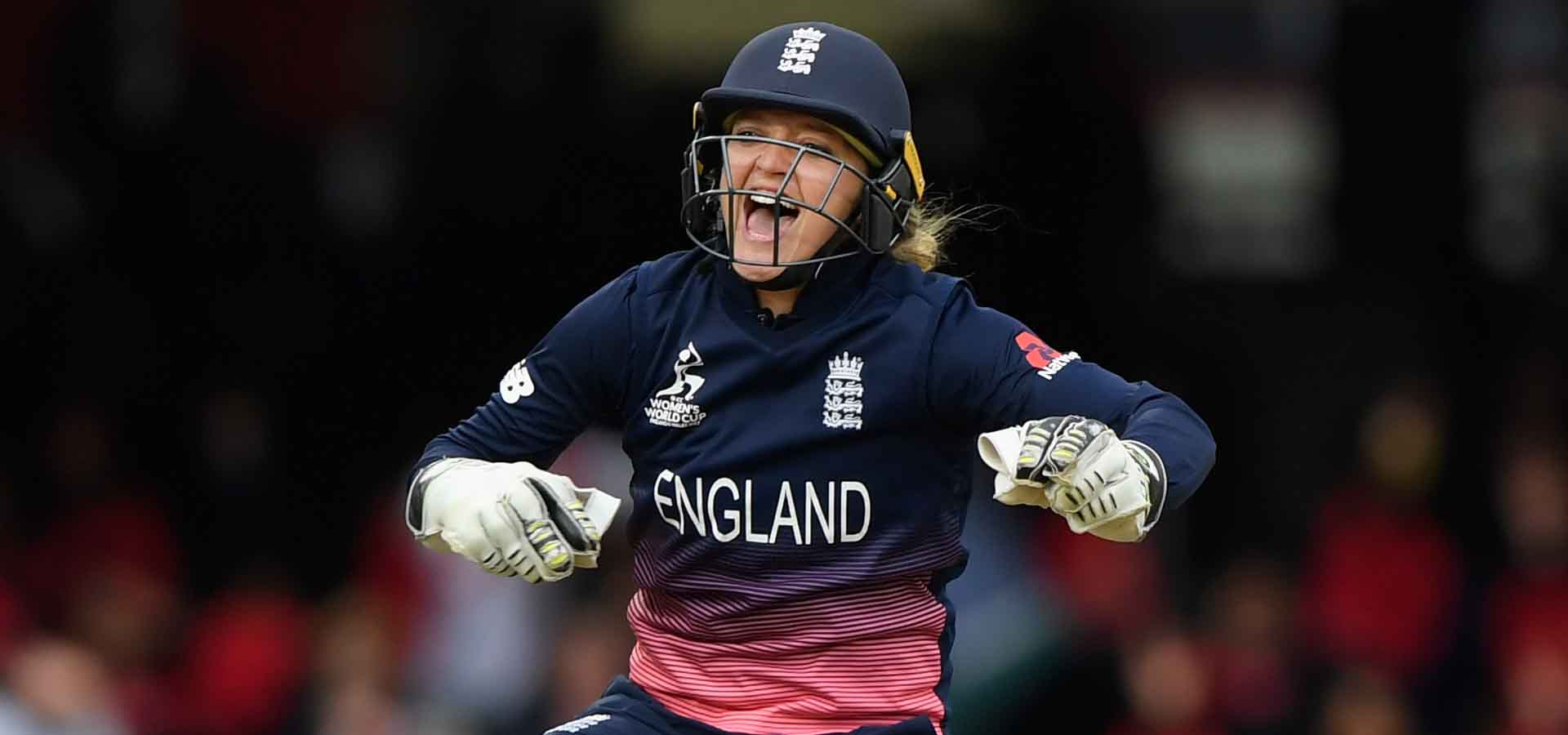 Sarah Taylor celebrates during the 2017 World Cup final