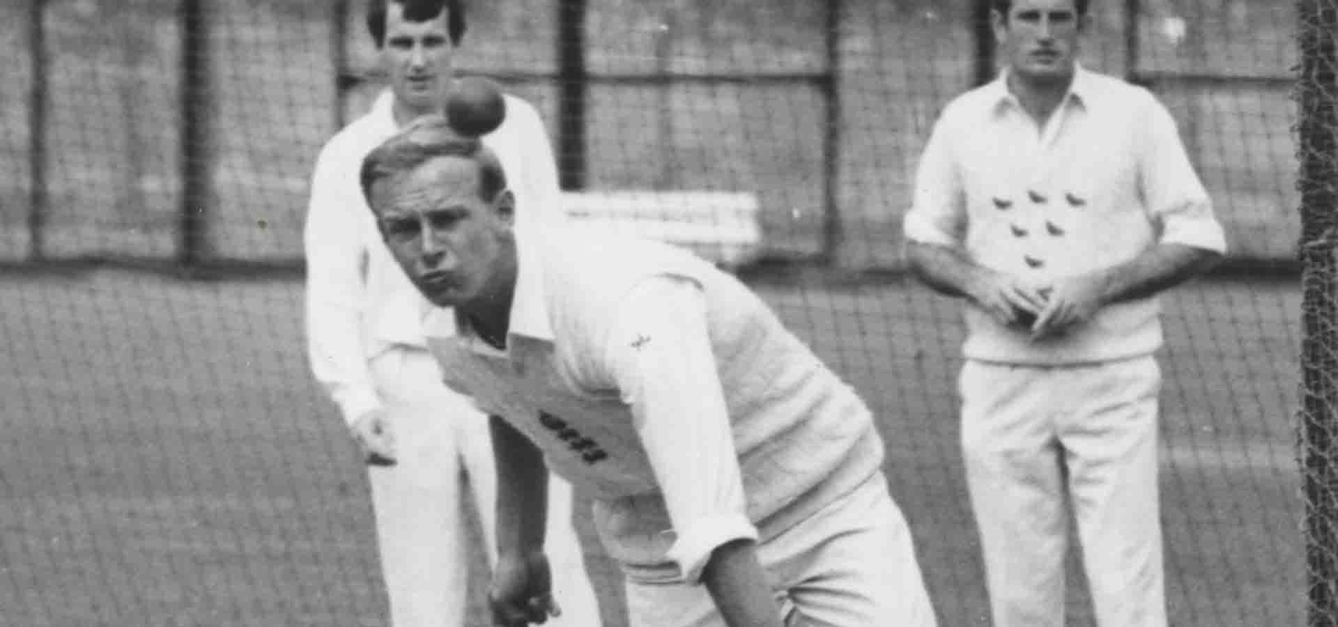 Derek Underwood bowling in the nets