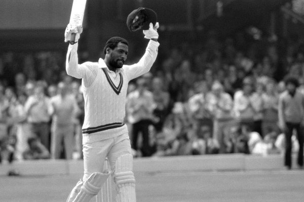 West Indies' Viv Richards celebrates his century.