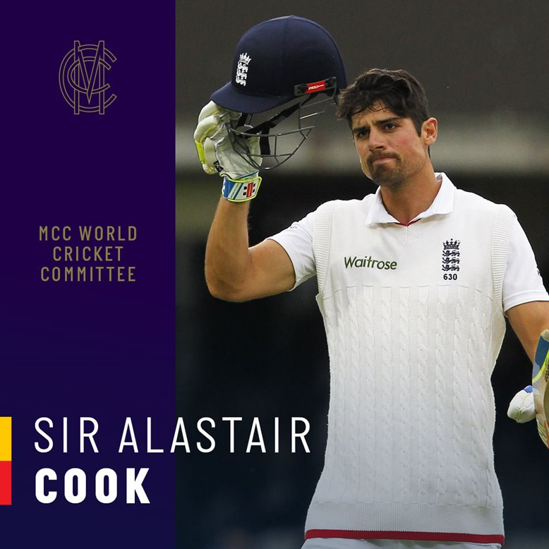 Sir Alastair Cook becomes MCC World Cricket committee member